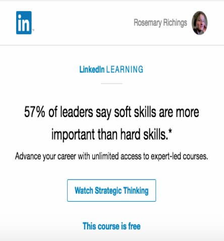 LinkedIn learning message.