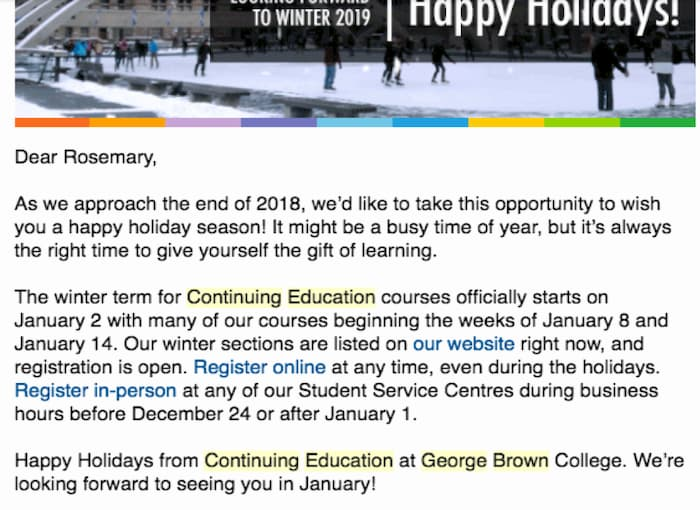 Email newsletter sent to students of the George Brown University before the holiday break.