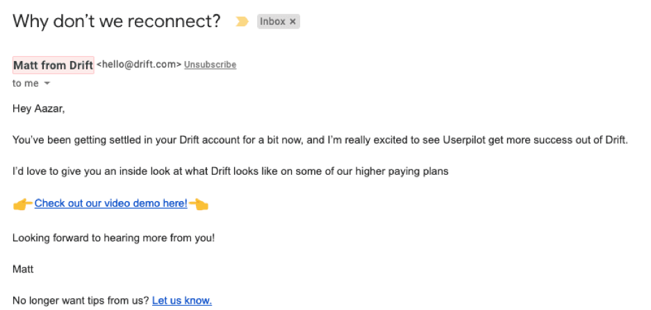 why don't we reconnect email for drift.