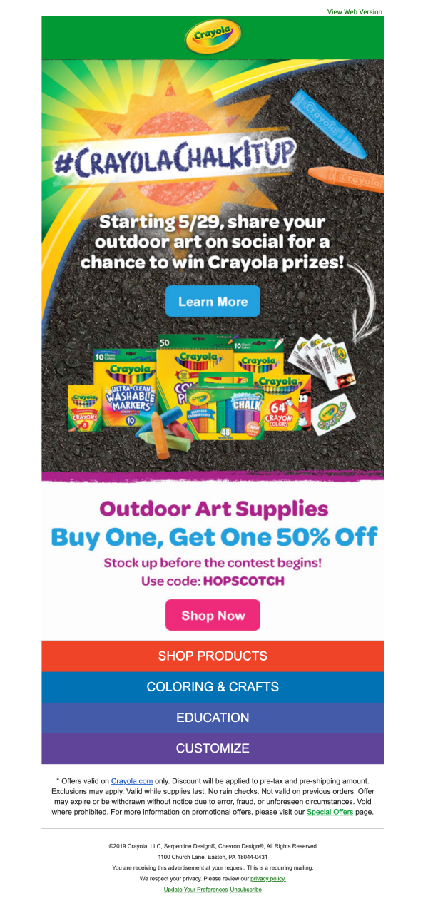 Crayola social contest email