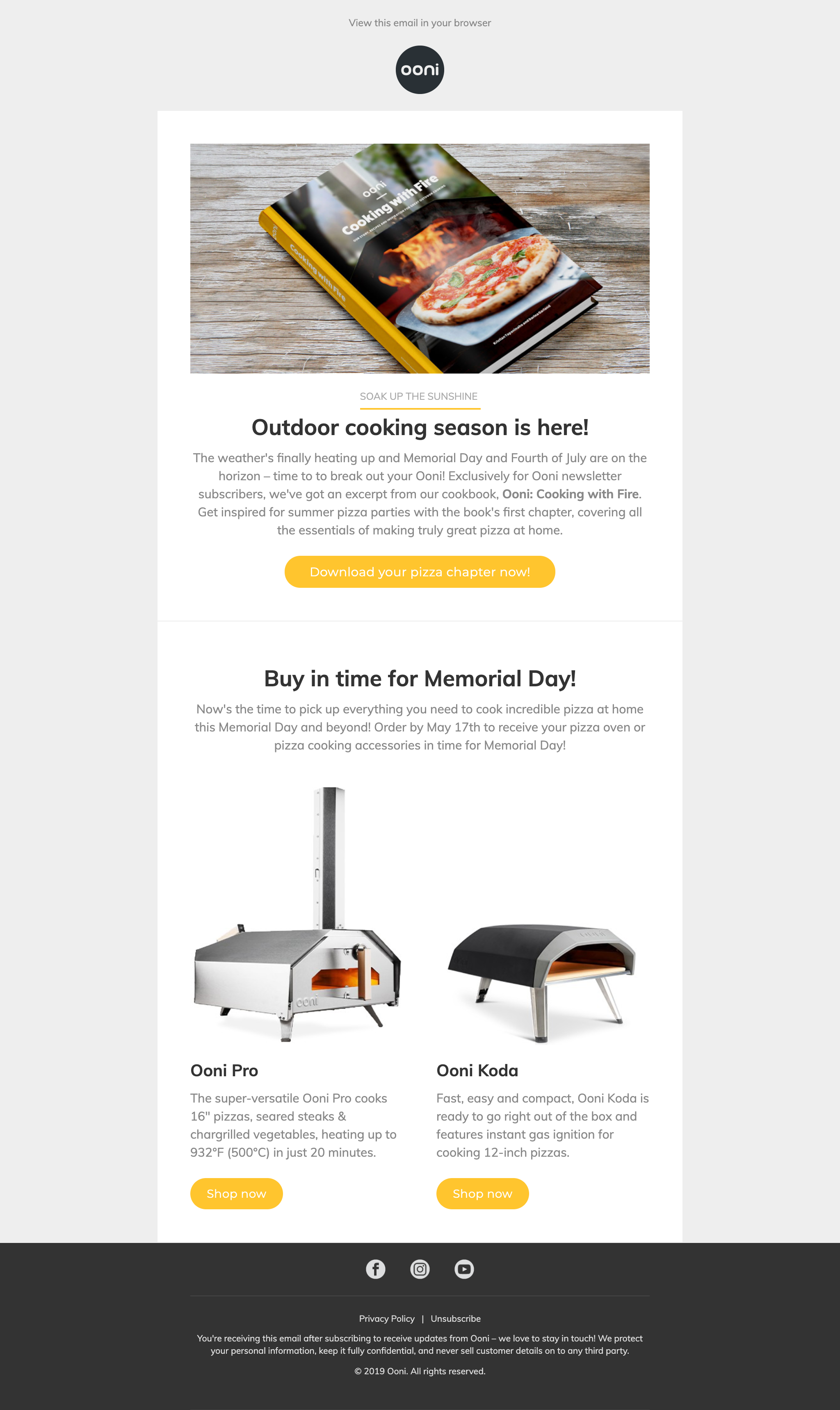 Ooni content and product email