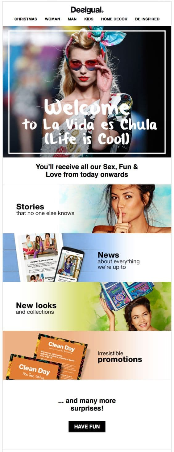 Example of a newsletter offer that helps Desigual segment their customers by their interest.