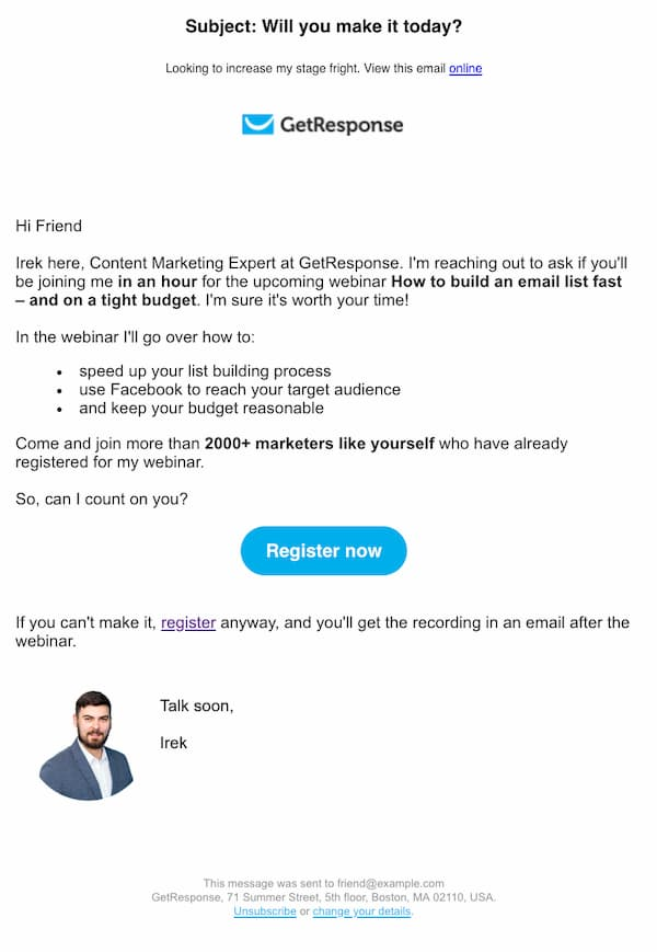 Personalized webinar email reminder from GetResponse.