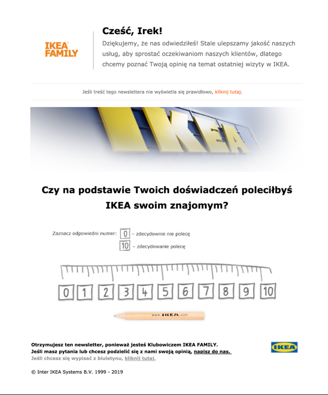 Ikea follow up satisfaction email.