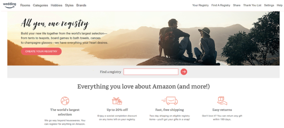 amazon wedding registry landing page example.