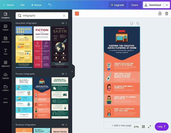 Canva - free infographic software tool..