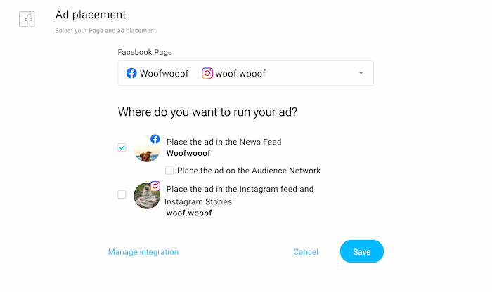 Choosing the ad placement in GetResponse Facebook and Instagram ads.