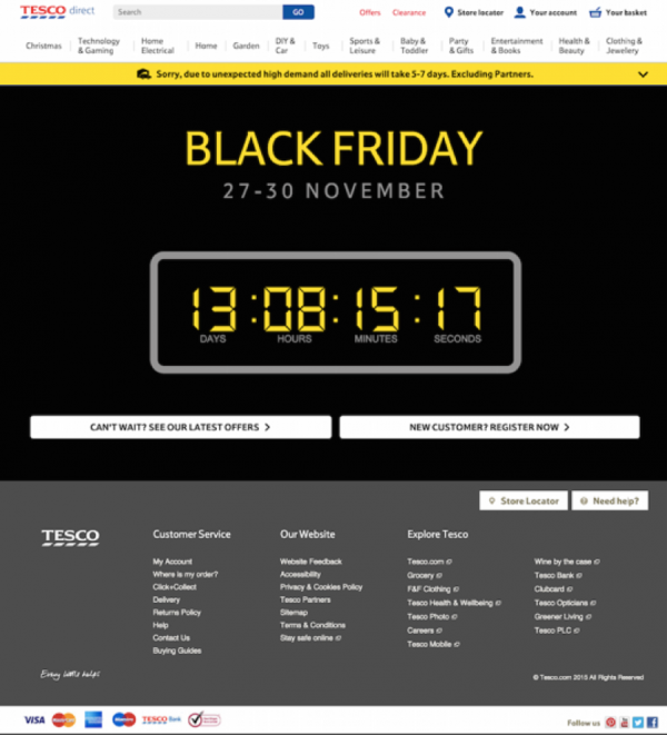 tesco countdown timer on landing page.