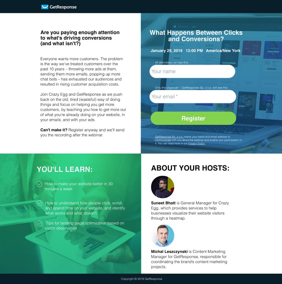 GetResponse great webinar landing page examples.