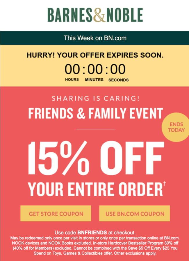 Ausschnitt einer E-Mail von Barnes & Noble mit einem Kaufanreiz