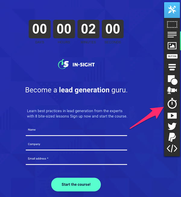How to add the countdown timer in GetResponse Landing Page Creator.