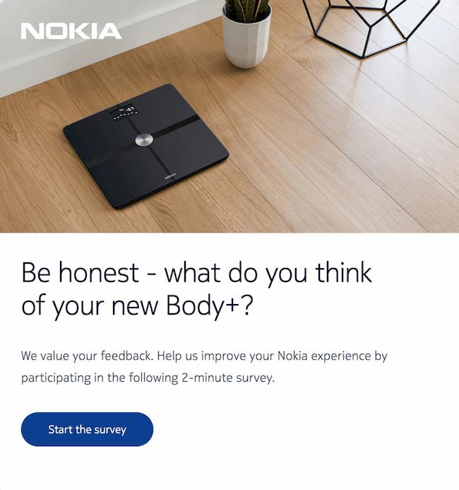 Eine E-Mail von Nokia mit einer Umfrage nach dem Kauf