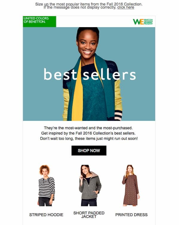 Best selling products from United Colors of Benetton
