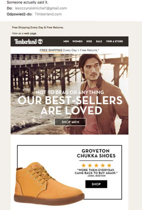 Automated email example using humor in the header image - Timberland