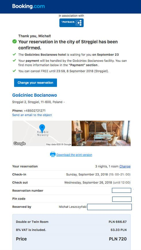 Booking receipt email