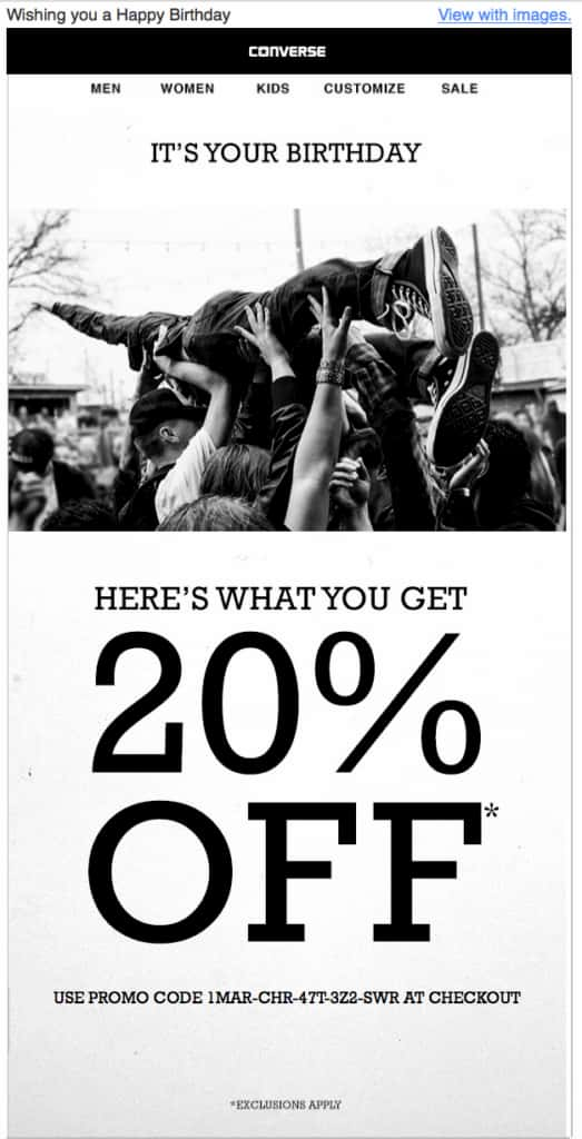Converse wishing their subscriber a happy birthday and offering an additional 20%-off discount code