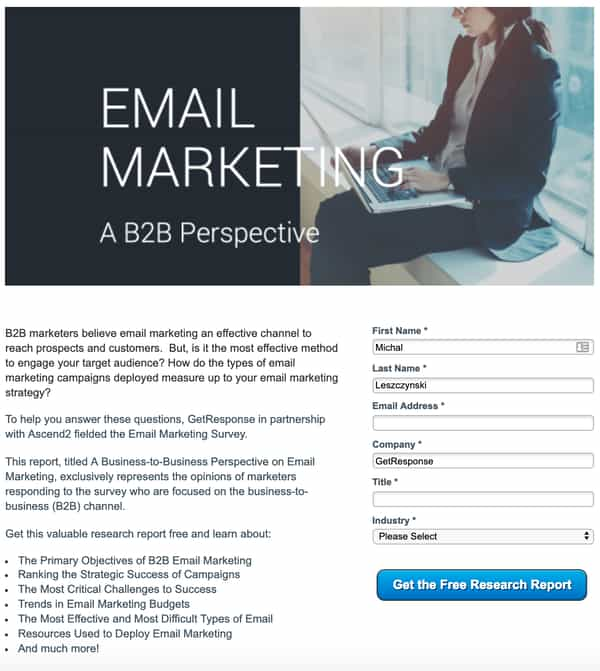 Free email marketing report getresponse ascend2.