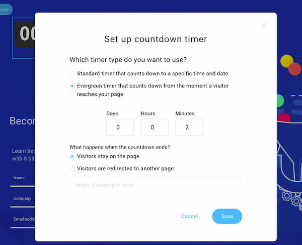 Evergreen countdown timer element in GetResponse Landing Pages.