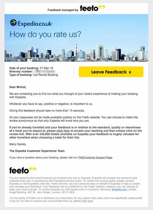 Expedia asking users to rate their service