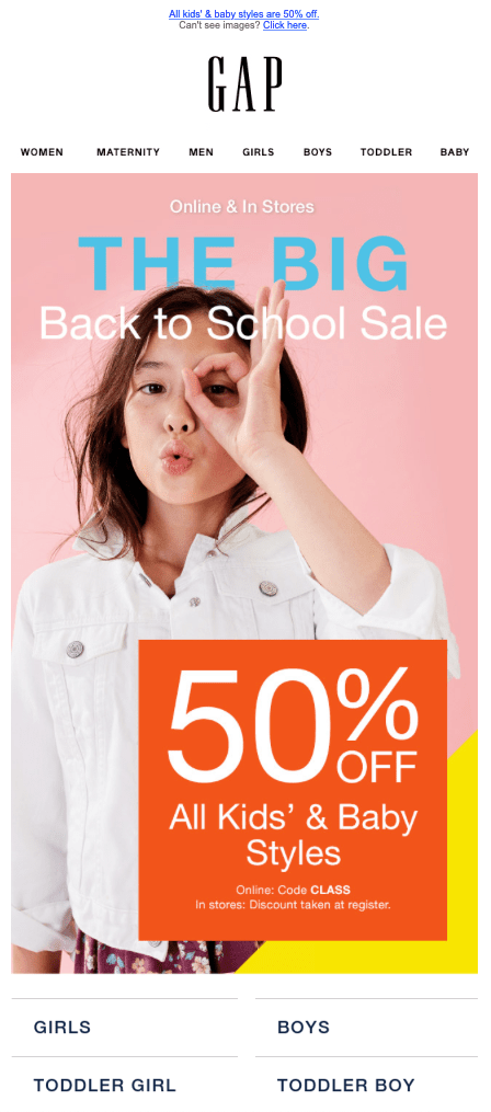 Campagne d'e-mail de vente Gap.