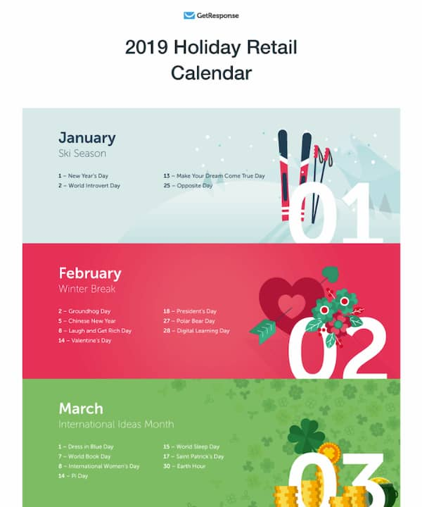 Lead magnet example - holiday retail calendar.
