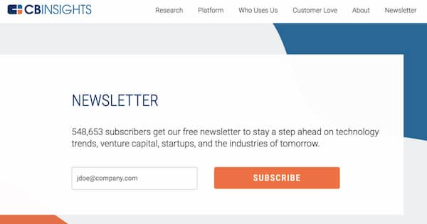 newsletter signup form cb insights.
