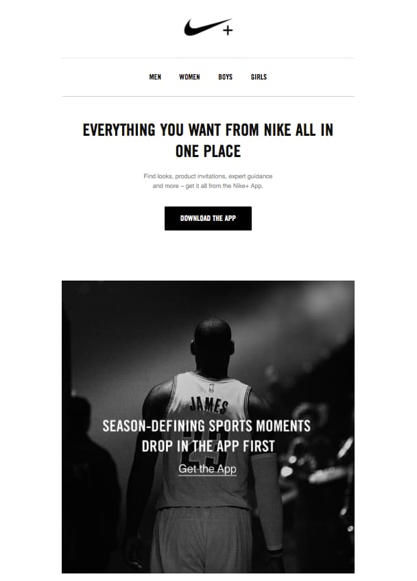 Nike automated email promoting their app to access favorite information on the go