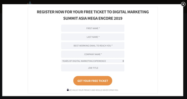 Lead magnet example - free ticket to an online conference.