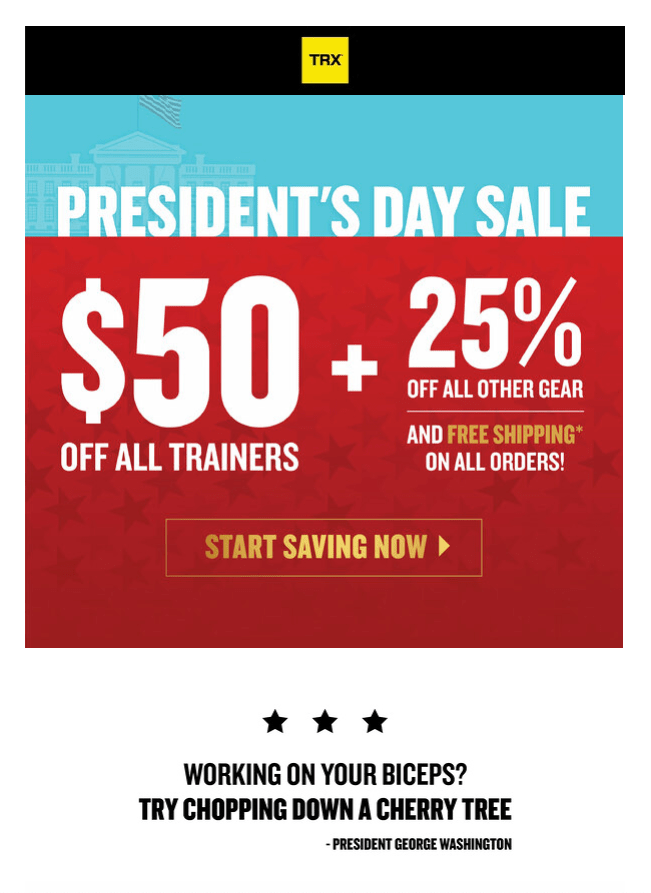 presidents day email blast trx.