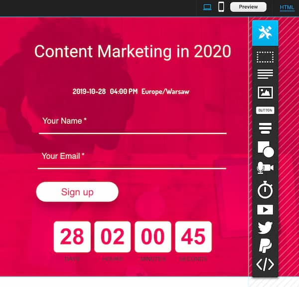Example of a webinar landing page with a countdown timer.