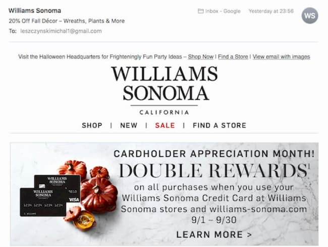 williams sonoma holiday campaign email for halloween.