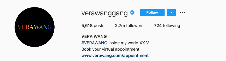 Vera Wang's instagram numbers - great personal brand example.