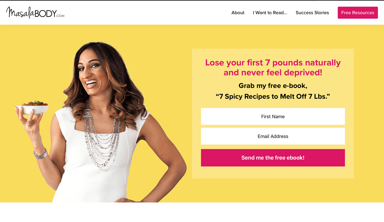 Landing page example Masala Body.