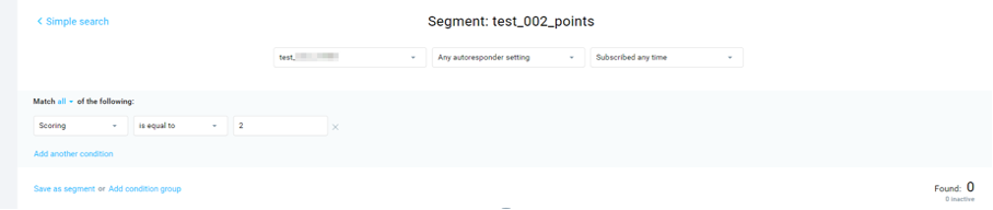 Image showing the segment setup based on your score results.