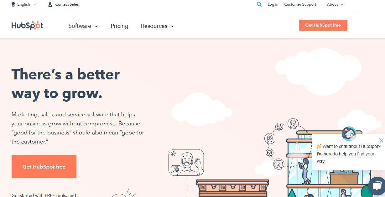 главная страница сервиса автоматизации маркетинга Hubspot