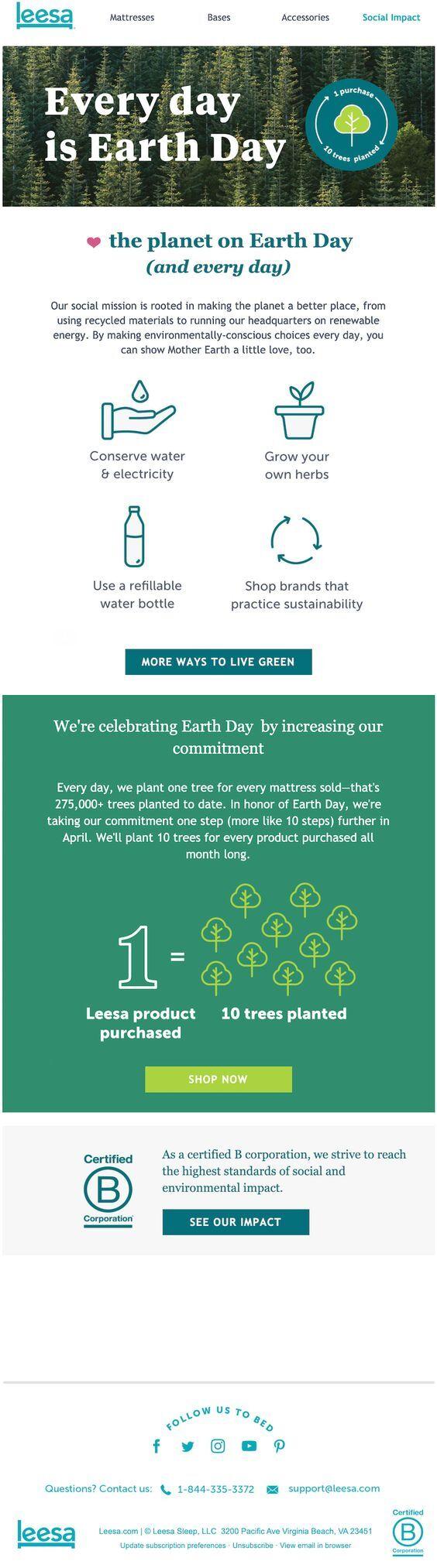пример рассылки по случаю дня Земли