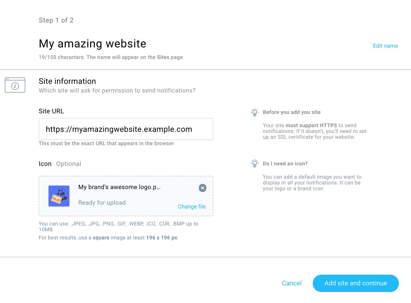настройка параметров сайта для показа web push уведомлений в GetResponse