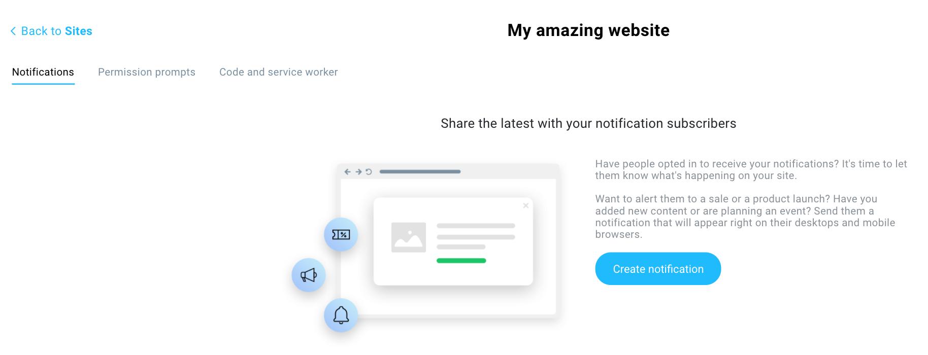 кнопка создать web push уведомления в GetResponse
