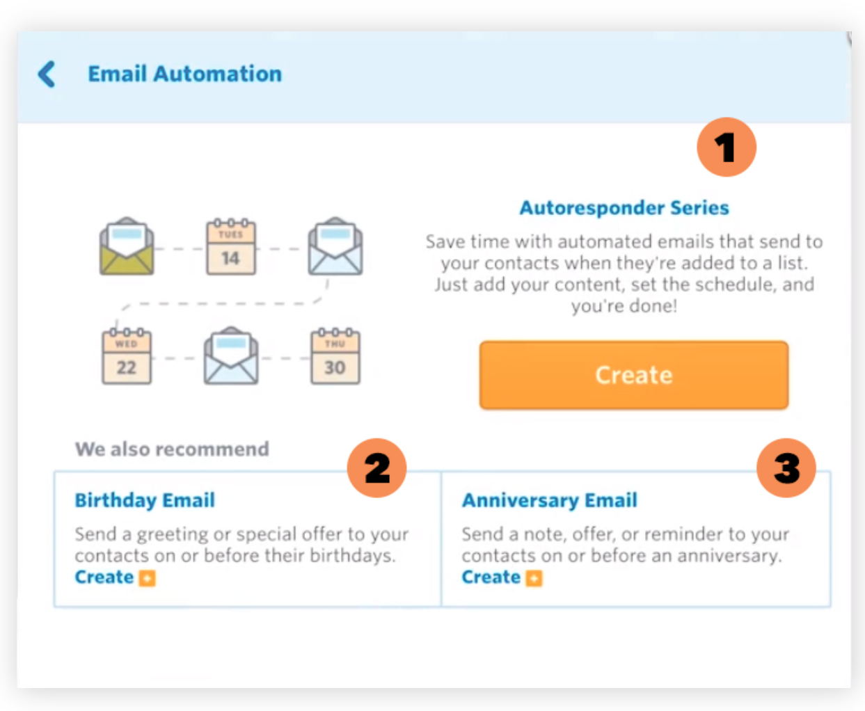 выбор сценария автоматизации в Constant Contact