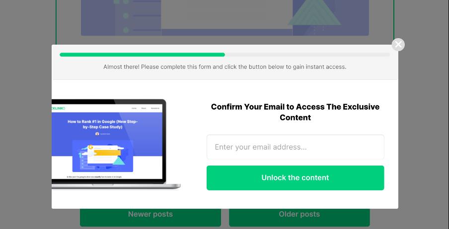 минималистическое всплывающее окно от Backlinko предлагающее получить бесплатный контент