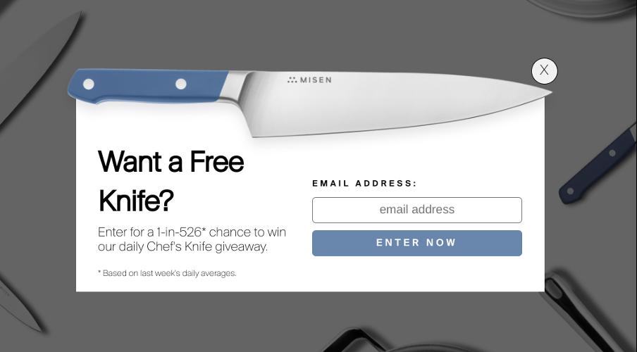 поп ап окно на сайте от Misen в виде белого блока с иллюстрацией ножа