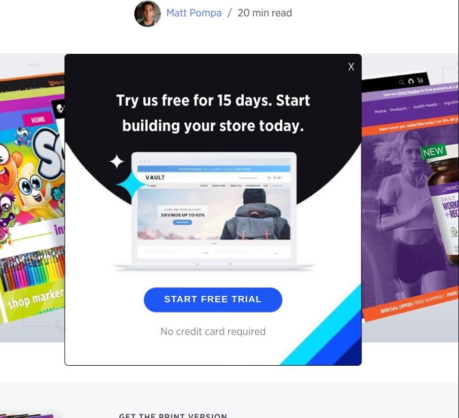 поп ап окно от BigCommerce в черном, белом и синем цвете с синей кнопкой призыва к действию создать бесплатный аккаунт