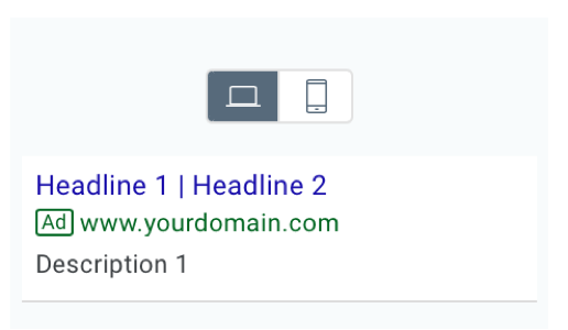 Google Ad preview on desktop.