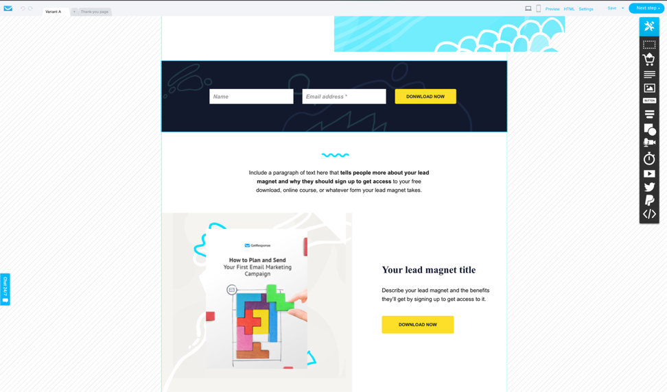 Template for a lead magnet funnel landing page.