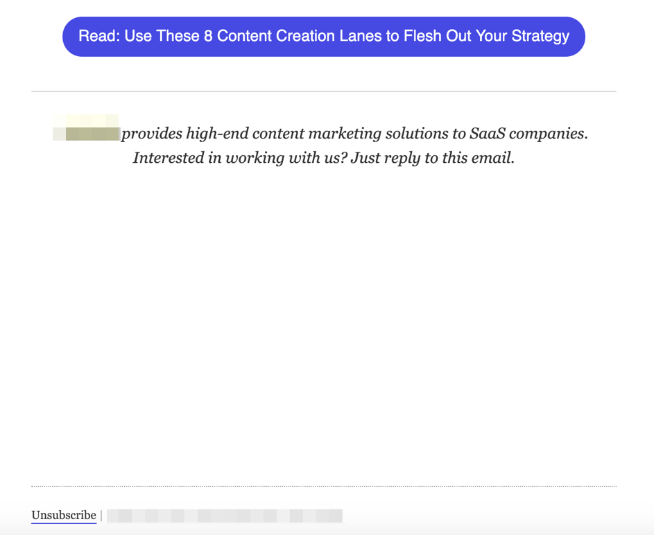 Email marketing mistake - pushing down the unsubscribe link far away from the message content.