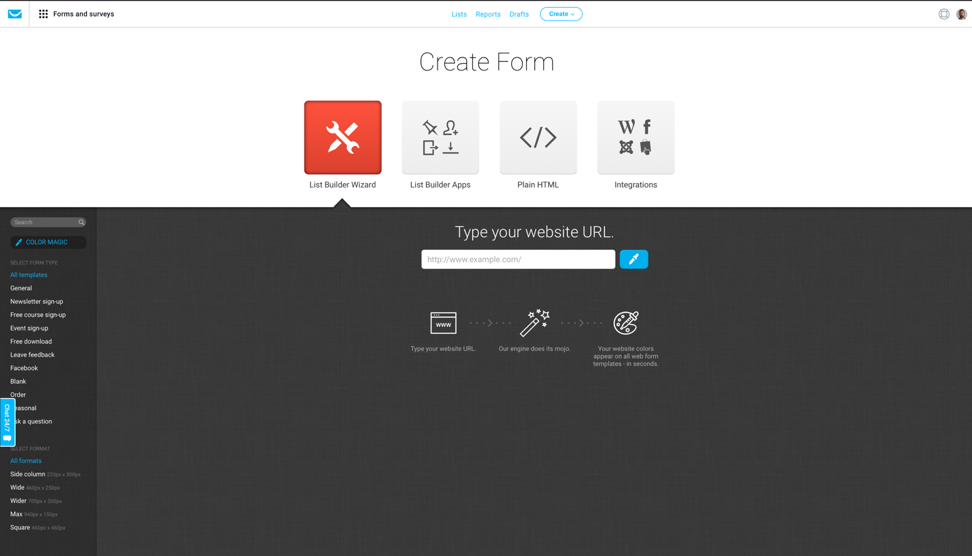 Creating a signup form in GetResponse.