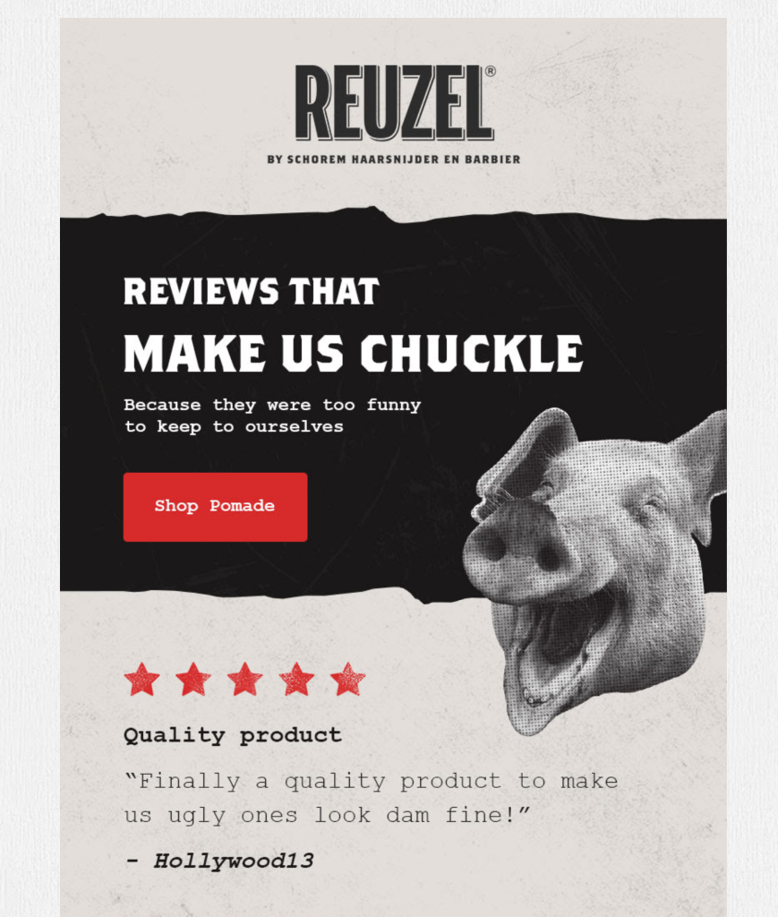 An email using customer reviews.