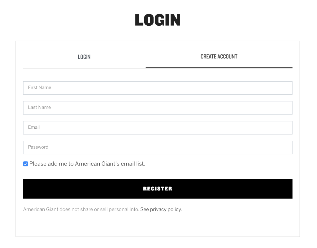 Screenshot of creating an ecommerce customer profile.