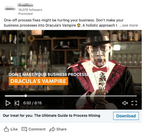 LinkedIn sponsored video content ad.