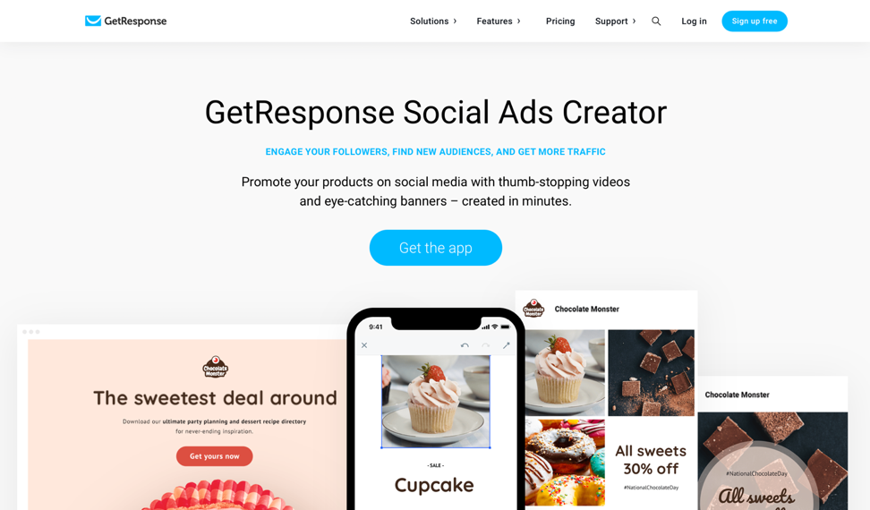 GetResponse social ads creator.